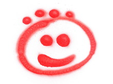 Red Spray Stain, Graffiti Smiley Face, Emoji Isolated On White Background, Clipping Path