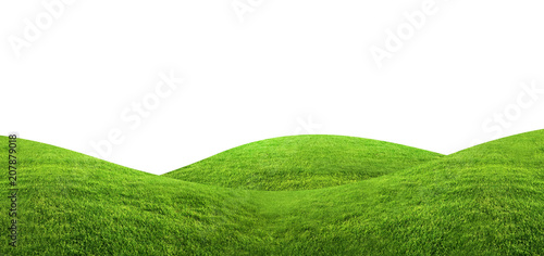 Fotobehang Heuvel Green grass texture background isolated on white background with clipping path.
