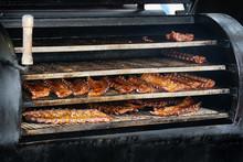 Bbq Spareribs In Barbecue Smok...
