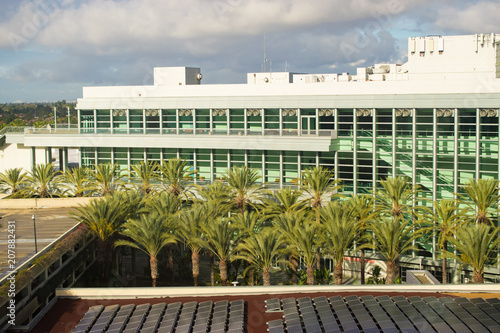 Fotografie, Tablou  Modern architecture of convention center in California surrounded by palm trees