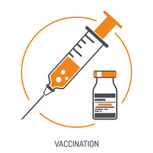 Plastic Medical Syringe And Vial Icon