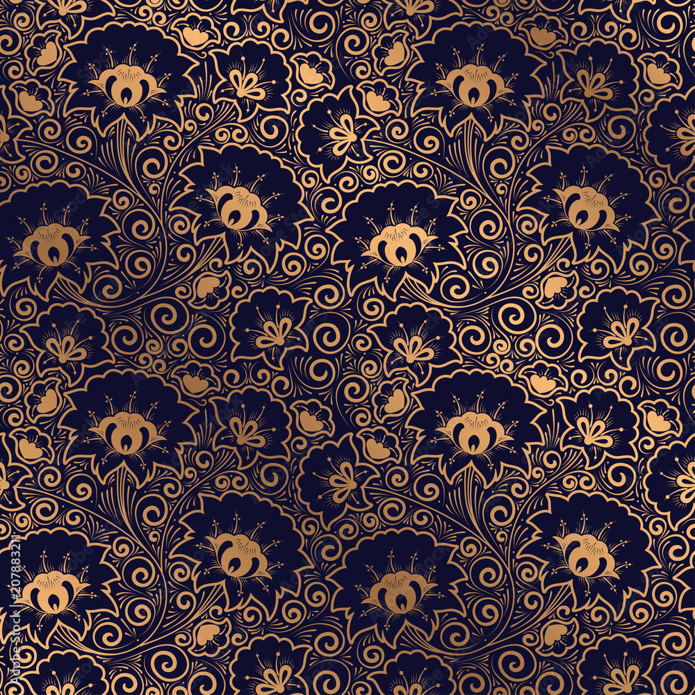 Luxury background vector. Floral royal pattern seamless. Golden design for yoga wallpaper, beauty spa salon ornament, indian wedding party, birthday wrapping paper, bridal, holiday birthday gift.