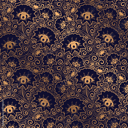 Luxury Background Vector Floral Royal Pattern Seamless Golden
