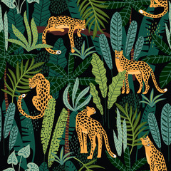 Panel Szklany Pantera Vestor seamless pattern with leopards and tropical leaves.