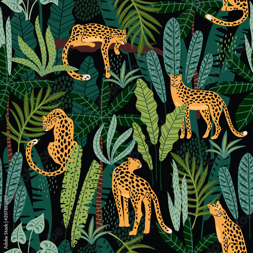 Fotografie, Tablou  Vestor seamless pattern with leopards and tropical leaves.