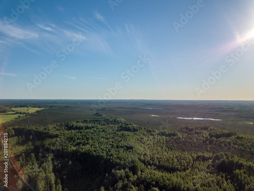 Spoed Foto op Canvas Grijze traf. drone image. aerial view of rural area with fields and forests
