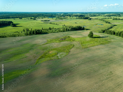 Spoed Foto op Canvas Khaki drone image. aerial view of empty cultivated fields