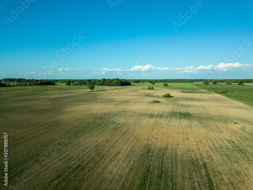 Tuinposter Blauw drone image. aerial view of empty cultivated fields