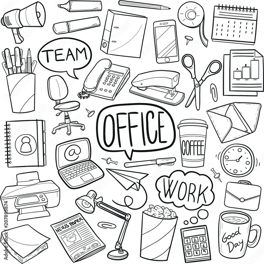 Photo Art Print Office Work Doodle Icon Hand Draw Line Art