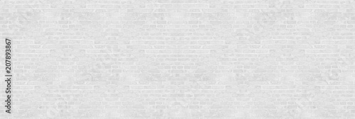 Poster Graffiti Vintage white wash brick wall texture for design. Panoramic background