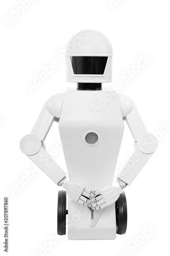 Fotografie, Obraz  Roboter mit Gestik, freigestellt oder isoliert vor weißem Hintergrund