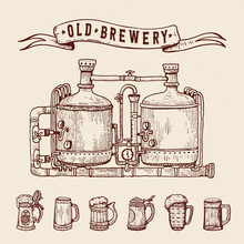 Vintage Engraving Style Beer S...
