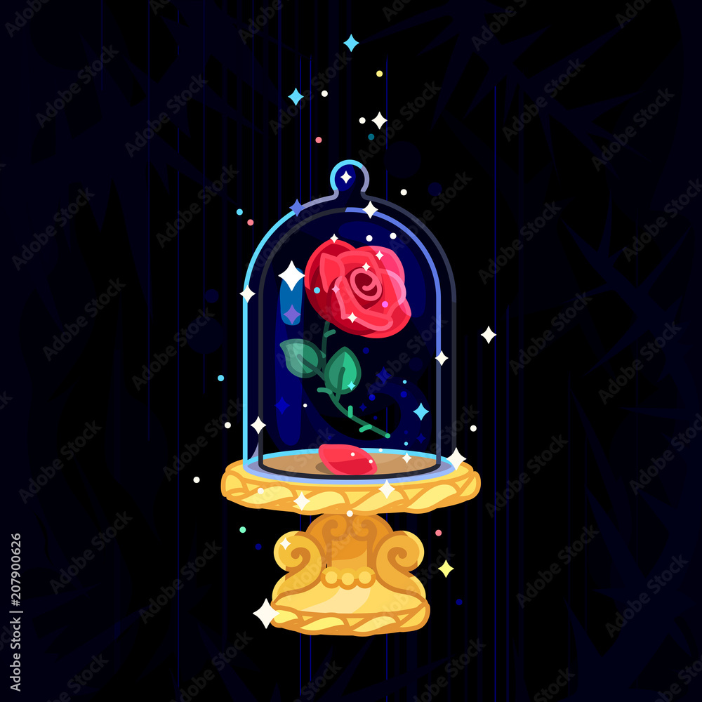 Fototapeta vector Beauty and Beast. Rose in glass dome, flask