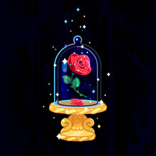 Vector Beauty And Beast. Rose In Glass Dome, Flask