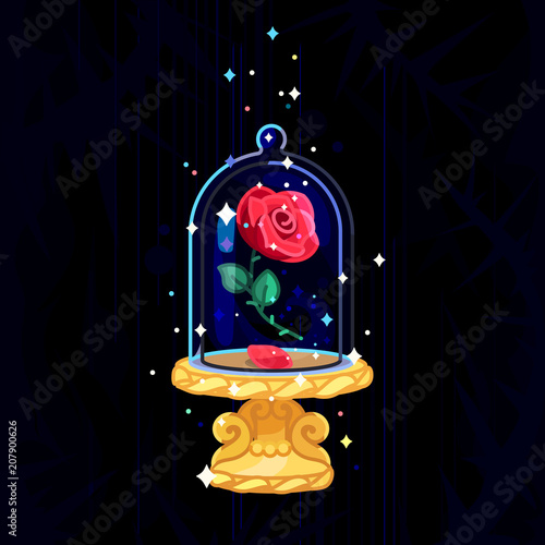 Photo  vector Beauty and Beast. Rose in glass dome, flask