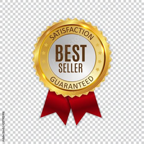 Fotografía  Best Seller Golden Shiny Label Sign. Vector Illustration