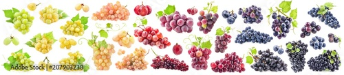 Fotografiet  Collections of Ripe grapes with leaves isolated on white