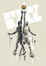 Streetball Players In A Jump. Sketch Style