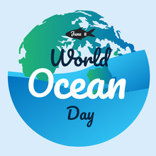 World Ocean Day Text Backgroun...