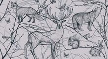 Seamless Pattern With Forest Animals, Birds And Tree Branches.