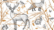 Seamless Pattern With Animals,...