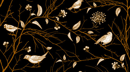Fototapeta Popularne Seamless pattern with forest birds and tree branches.
