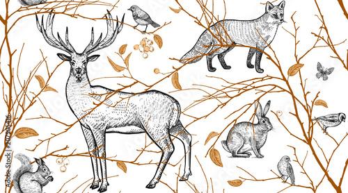 Fototapeten Künstlich Seamless pattern with animals, birds and tree branches.