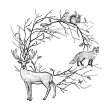 Decorative Frame With Tree Bra...