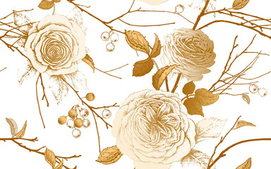 FototapetaA seamless pattern with English garden roses, tree branches and berries.