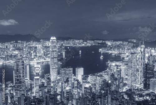 Tuinposter Aziatische Plekken Victoria harbor of Hong Kong City