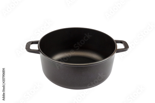 Cast-iron pot isolated on a white background.