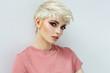 Leinwanddruck Bild - Beauty portrait of female face with natural skin isolated on white