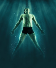 Man Floats Underwater