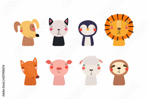 Printed kitchen splashbacks Illustrations Set of cute funny little animals cat, lion, sheep, penguin, dog, sloth, fox, pig. Isolated objects on white background. Vector illustration. Scandinavian style flat design. Concept for children print.