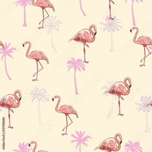 Fotobehang Flamingo vogel seamless flamingo pattern vector illustration