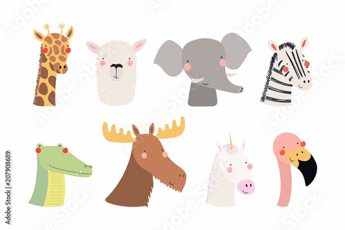 Printed kitchen splashbacks Illustrations Set of cute funny animals unicorn, zebra, llama, flamingo, giraffe, moose, crocodile, elephant. Isolated objects on white . Vector illustration. Scandinavian style flat design Concept children print