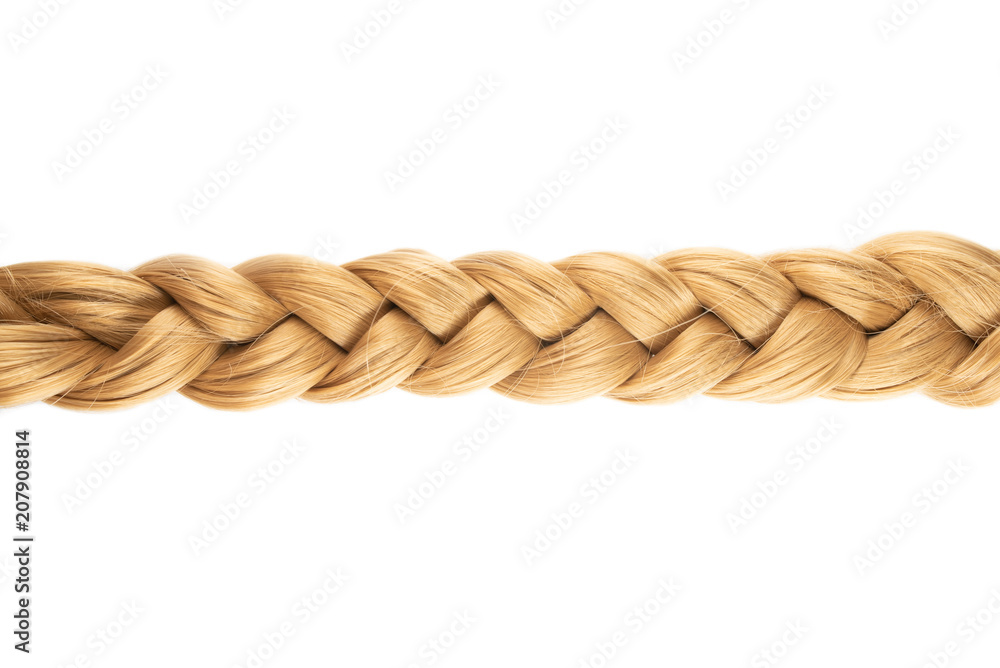 Fototapety, obrazy: blond plait or braid of blond hair isolated on white background
