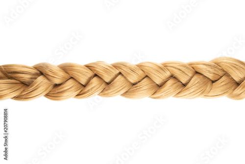 Fényképezés  blond plait or braid of blond hair isolated on white background