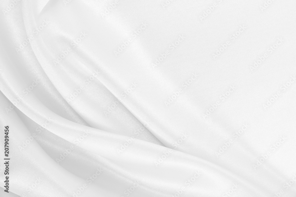 Fototapety, obrazy: Smooth elegant white silk or satin luxury cloth texture as wedding background. Luxurious Christmas background or New Year background design