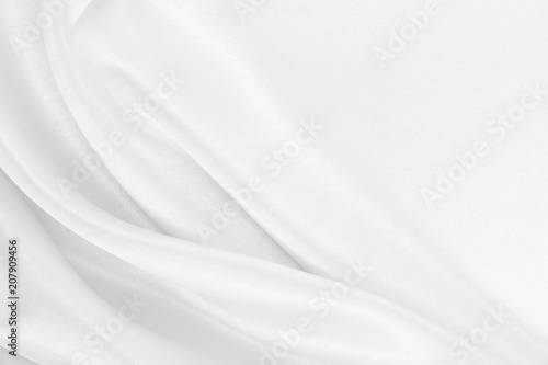 Smooth elegant white silk or satin luxury cloth texture as wedding background Canvas Print