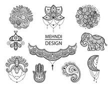 Mehndi Set Of Traditional Indi...