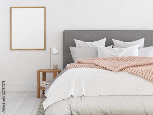 Fotografie, Obraz  new modern bedroom in a apartment. 3d rendering