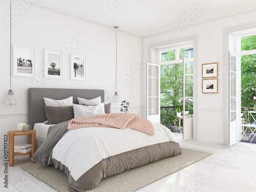 Fotografia  new modern bedroom in a apartment. 3d rendering