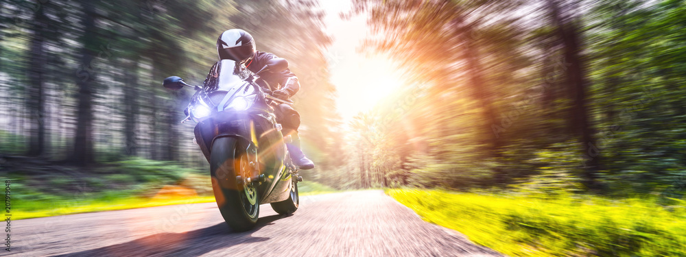 Fototapety, obrazy: motorbike on the road riding. having fun riding the empty road on a motorcycle tour / journey
