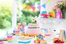Kids Birthday Party Decoration And Cake.