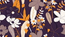 Floral Seamless Pattern, Hand Drawn Flowers And Plants In Purple And Yellow Tones
