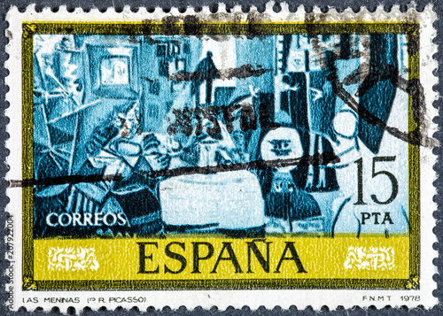 Cuadros en Lienzo  stamp printed by Spain, shows The Meninas  by Pablo Ruiz Picasso
