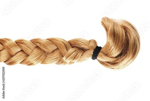 Obraz blond plait or braid of blond hair isolated on white background - fototapety do salonu