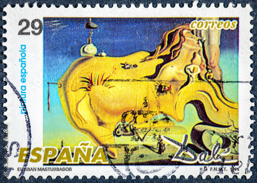stamp printed by Spain, shows picture The Great Masturbator by Dali Canvas Print