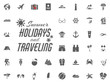 Summer holidays and Traveling vector icons set.